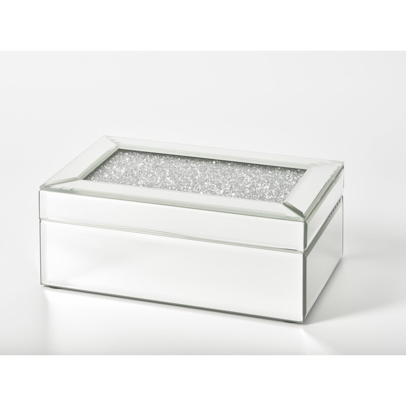 """Florie 8"""" Mirrored Rectangle Crystal Jewellery Box"""
