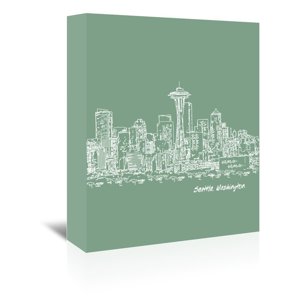 East Urban Home Skyline Seattle 6 Graphic Art On Wrapped Canvas In Green Wayfair