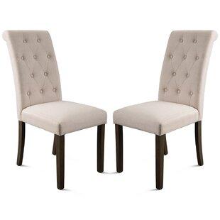 Calvino Tufted Velvet Upholstered Parsons chair Set of 2 by Red Barrel Studio