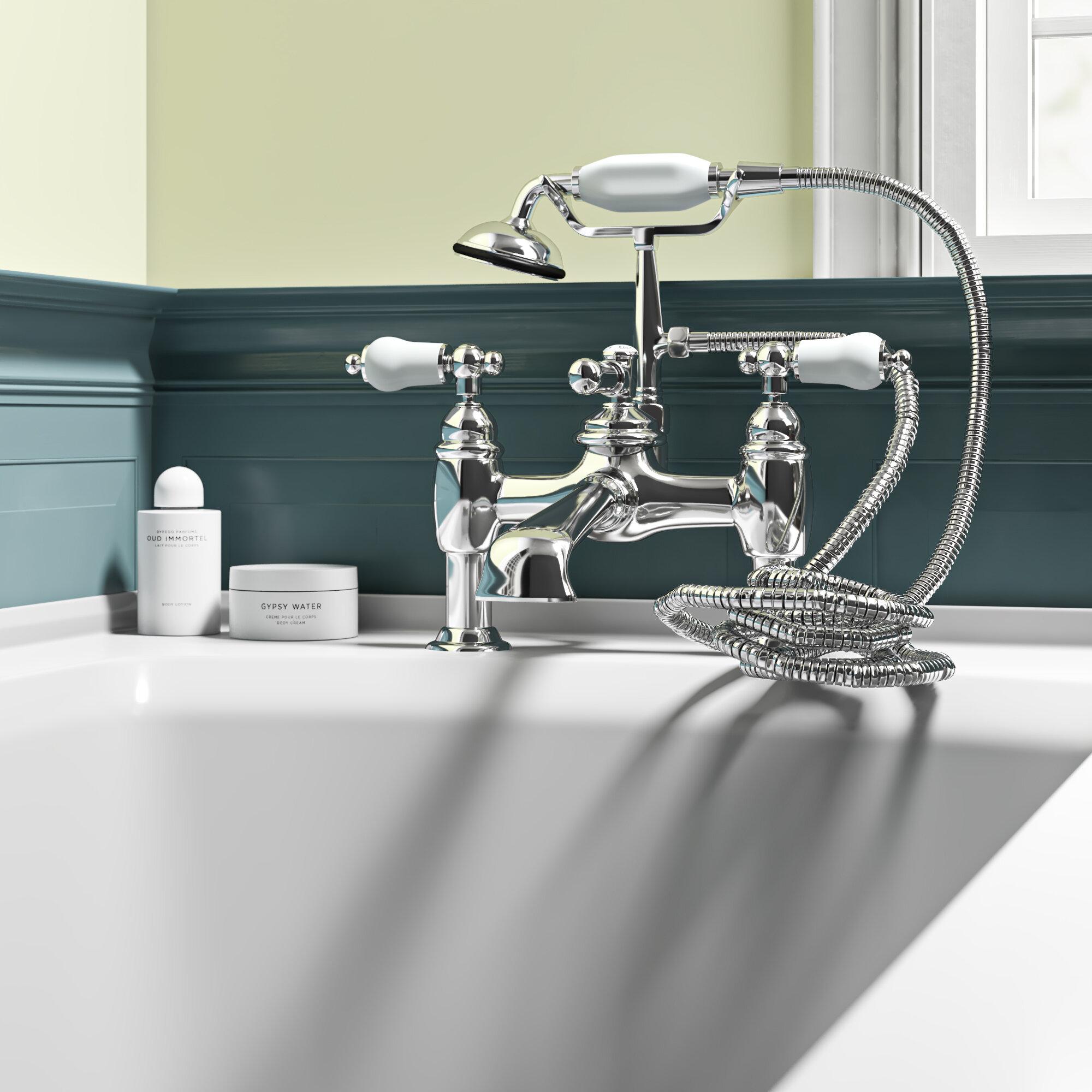 Vintage Triple Handle Deck Mounted Clawfoot Tub Faucet Trim With Handshower Birch Lane
