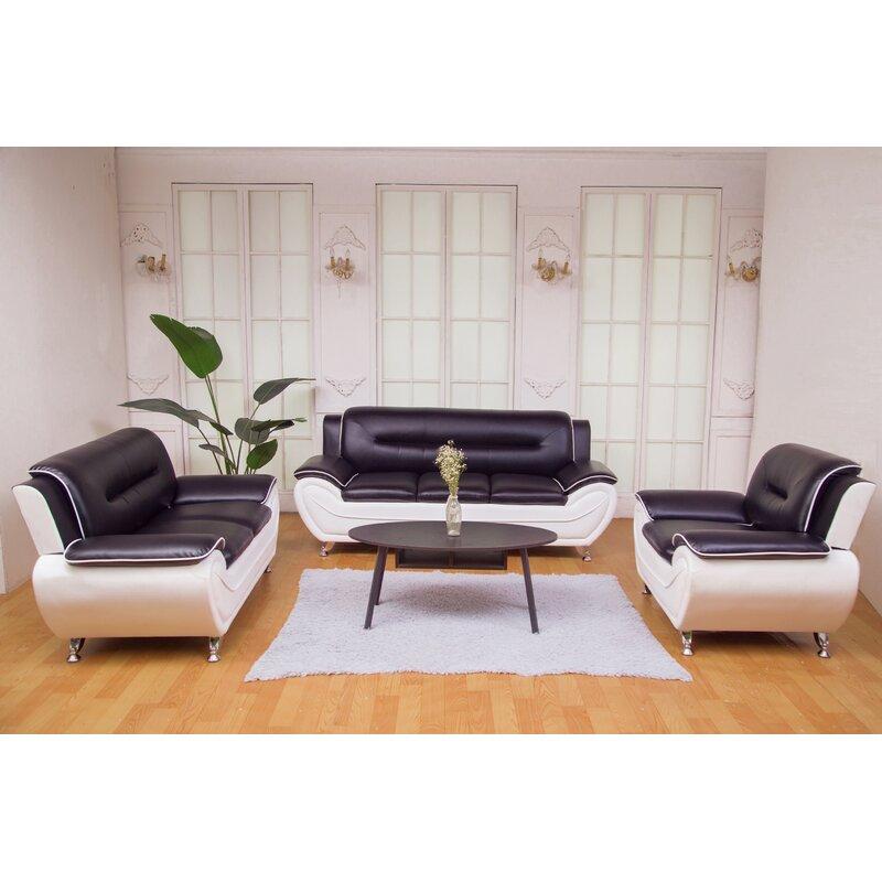 Stcyr 3 Piece Faux Leather Living Room Set