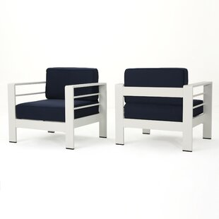 Orren Ellis Villegas Outdoor Patio Chair with Cushions (Set of 2)