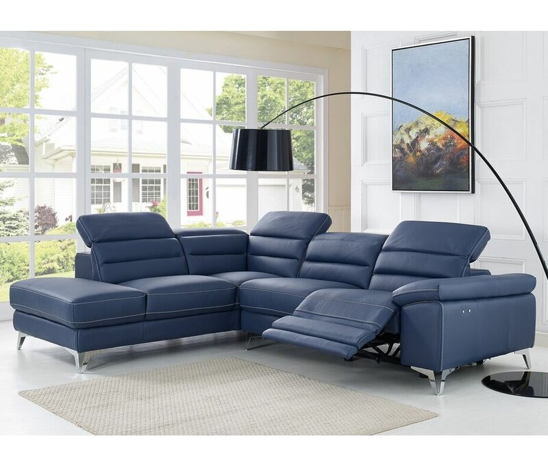 Westall Leather Left Hand Facing Reclining Sectional
