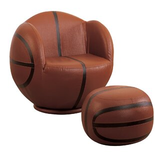 Scheetz Basketball Swivel Barrel Chair with Ottoman by Zoomie Kids