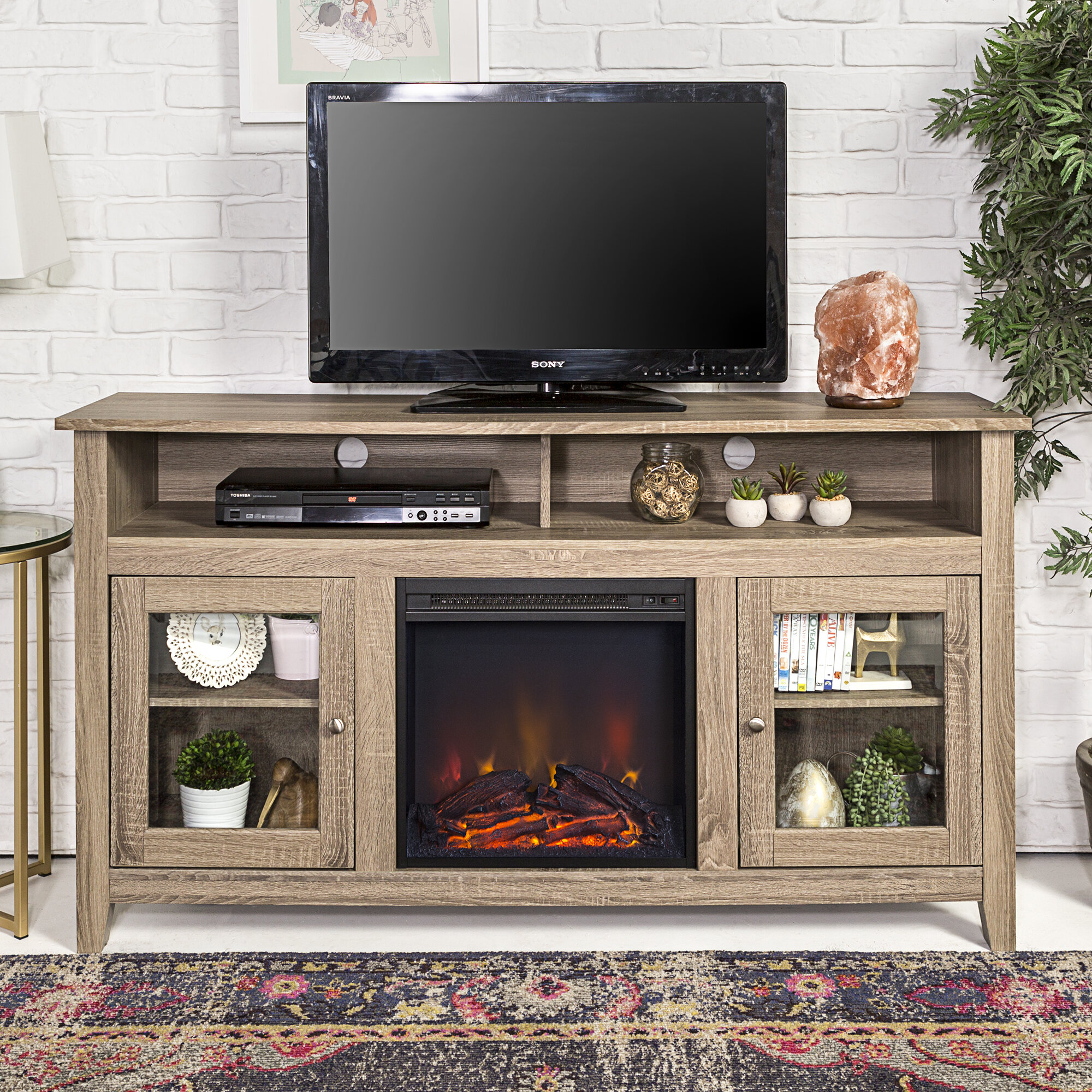 Zipcode design kohn 58 tv stand with fireplace reviews wayfair solutioingenieria Gallery
