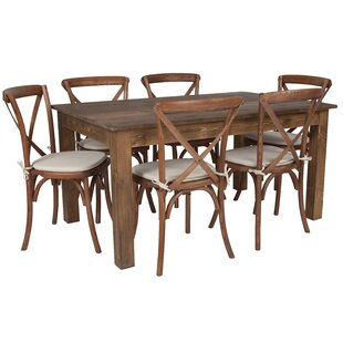 Cece 7 Piece Solid Wood Dining Set