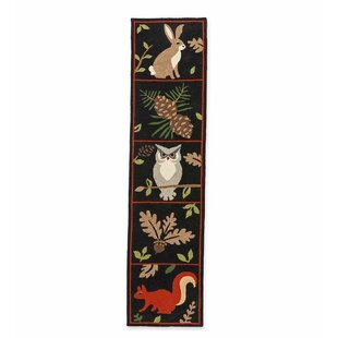 Bargain Woodland Hooked Black Indoor/Outdoor Area Rug By Plow & Hearth
