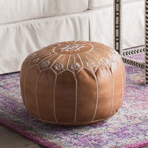 Casablanca Market Moroccan Embroidered Leather Ottoman