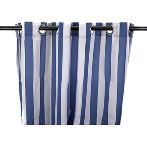 Striped Semi-Sheer Outdoor Grommet Single Curtain Panel