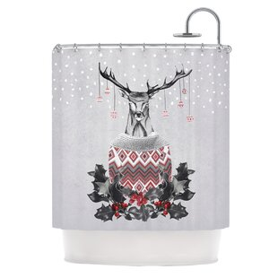 Christmas Deer Snow Shower Curtain By KESS InHouse