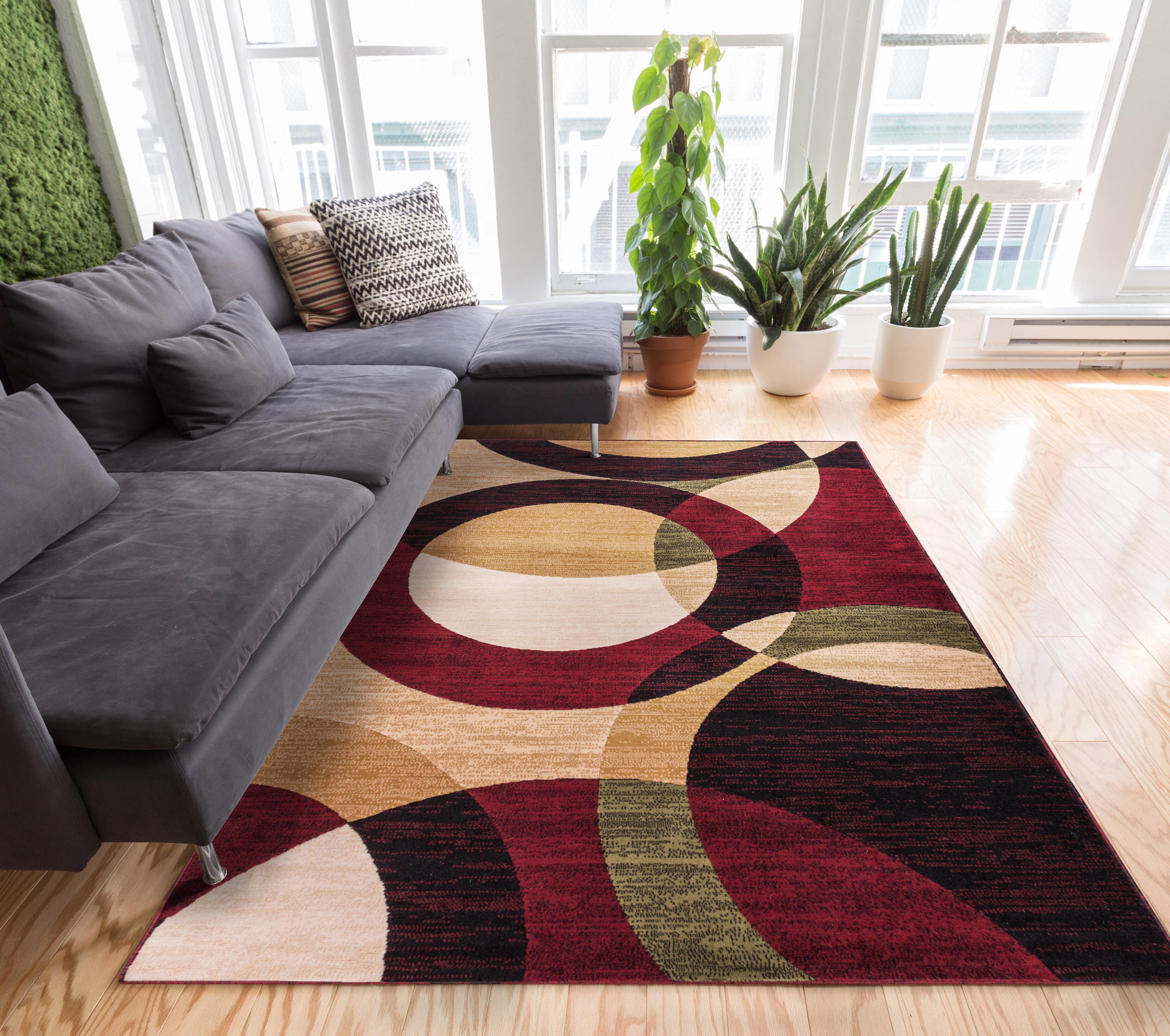 Ebern Designs Chelsi Geometric Red Beige Area Rug Reviews Wayfair