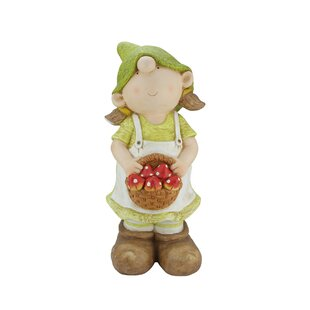 Northlight Seasonal Young Girl Gnome Holding a Basket of Mushrooms Garden Statue