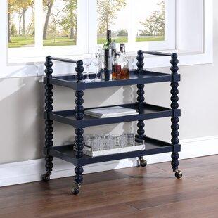 Mid-Century Retro Bar Cart w//Lower Shelf ~ Walnut Wood ~ Locking Caster Wheels