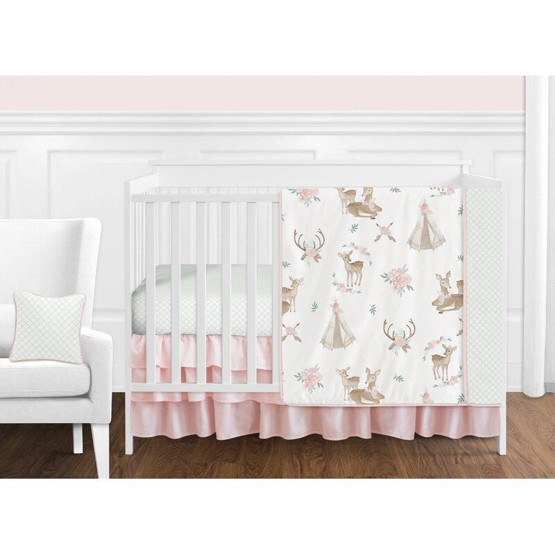 Sweet Jojo Designs Deer Floral 11 Piece Crib Bedding Set Reviews Wayfair
