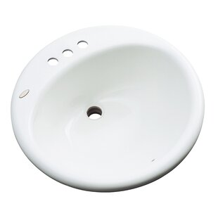 Danbury Circular Drop-In Bathroom Sink with Overflow Solidcast