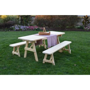 Smyrna Pine Traditional Picnic Table with 2 Benches