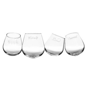 4 Piece 12 oz. Wine Glass Set