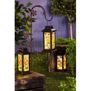 August Grove Fluttering Garden Friends Glass Lantern Set (Set of 3)