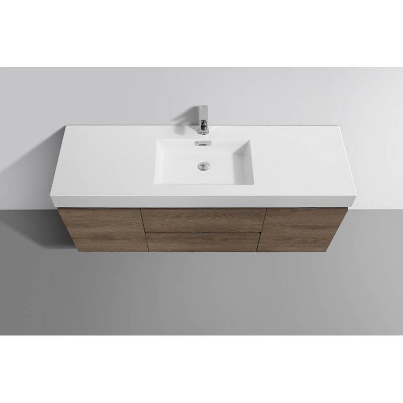 Wade Logan Malakai 60 Wall Mounted Single Bathroom Vanity Set Wayfair