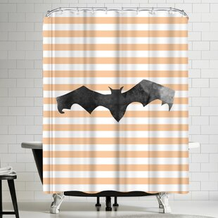 Jetty Printables Halloween Striped Bat Single Shower Curtain