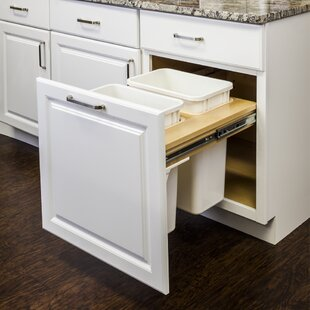 Hardware Resources Top Mount Soft-Close Double Solid Wood Open Pull Out/Under Counter Trash Can
