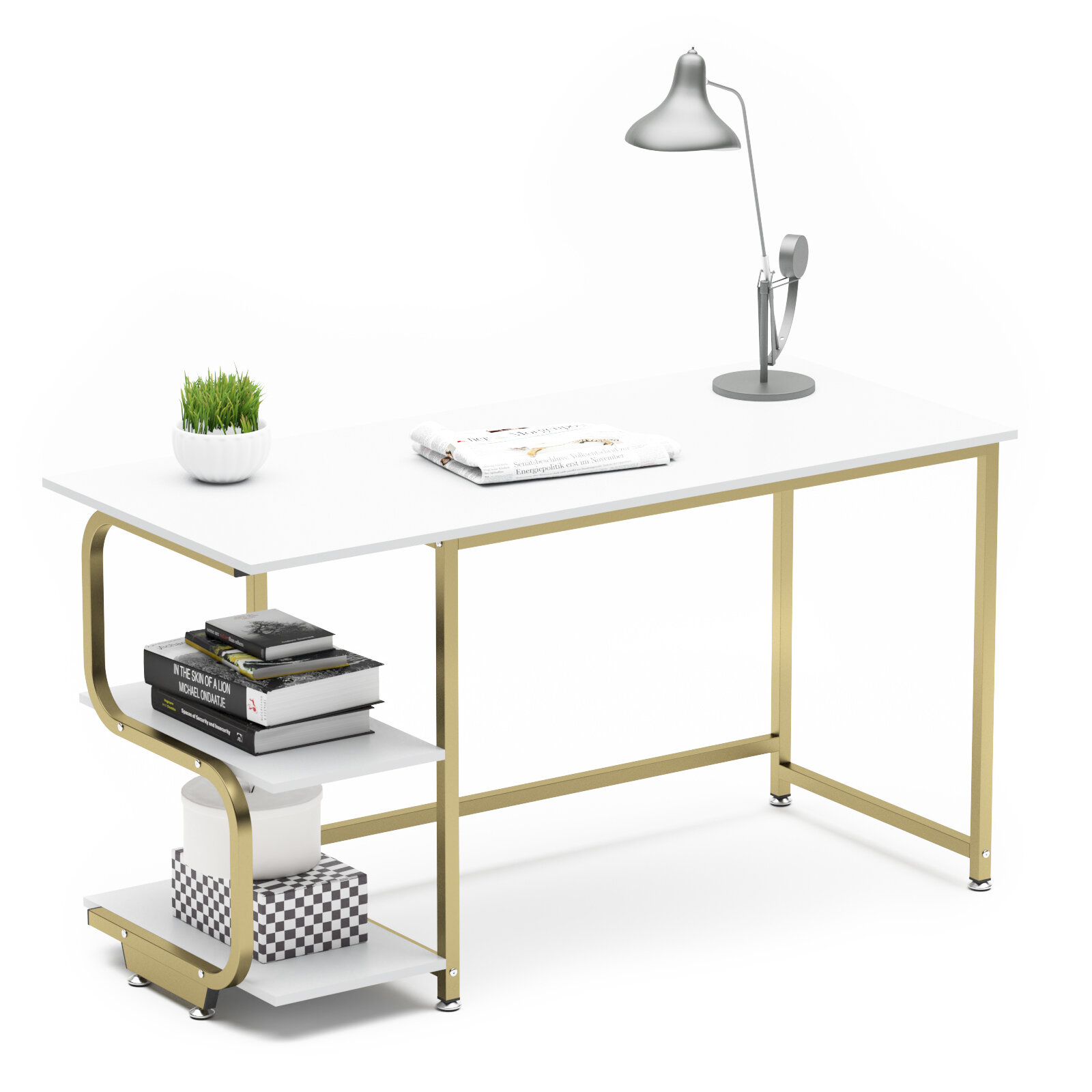 Latitude Run Reversible Computer Desk For Small Spaces With Shelves 47 24 Gaming Desk Office Desk White With Gold Frame For Home Office Reviews