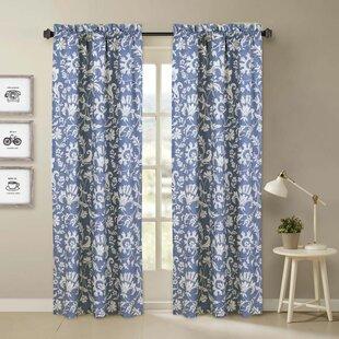 Raby Floral Room Darkening Rod Pocket Curtain Panels (Set Of 2)