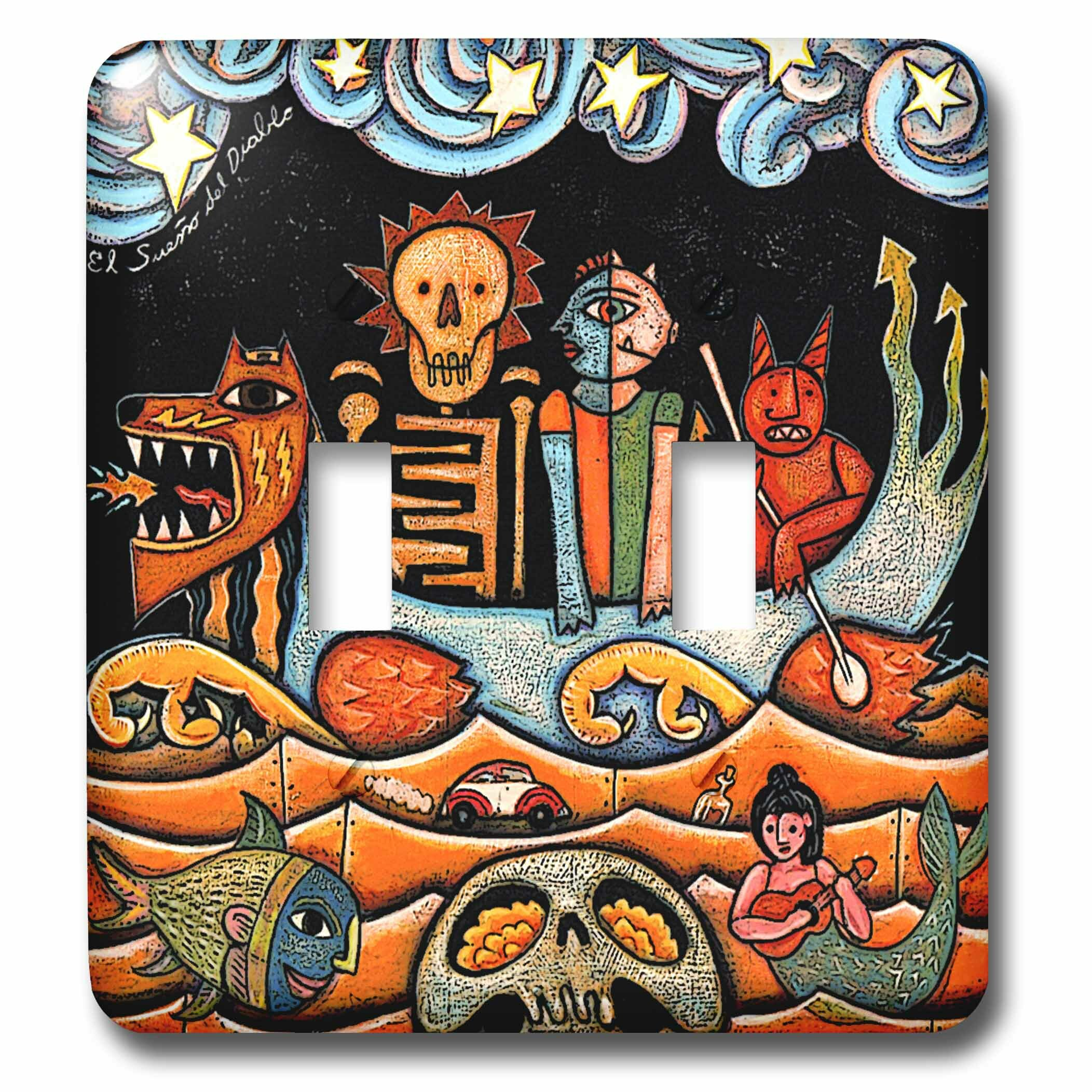 3drose The Devil S Dream Folk Art Skulls Mexican Colorful Surrealism 2 Gang Toggle Light Switch Wall Plate Wayfair