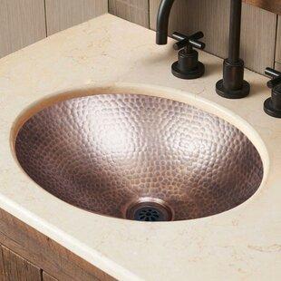 Monarch Abode Hand Hammered Metal Oval Drop-In Bathroom Sink