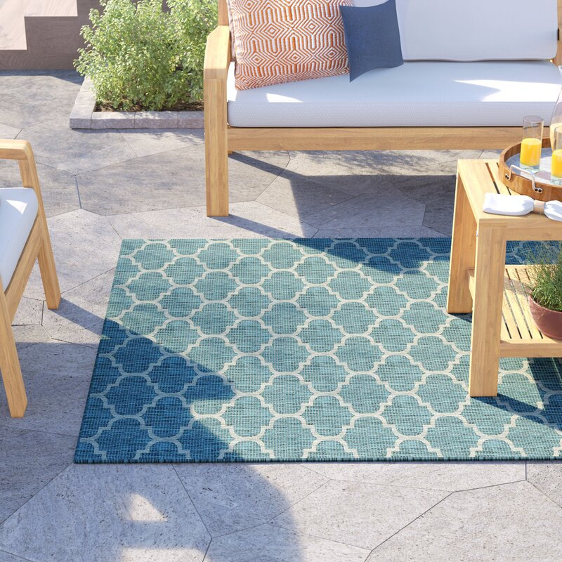 Sol 72 Outdoor Delray Geometric Teal