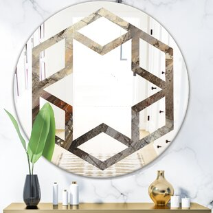 Hexagon Star Fire and Ice Minerals III Eclectic Frameless Wall Mirror by East Urban Home