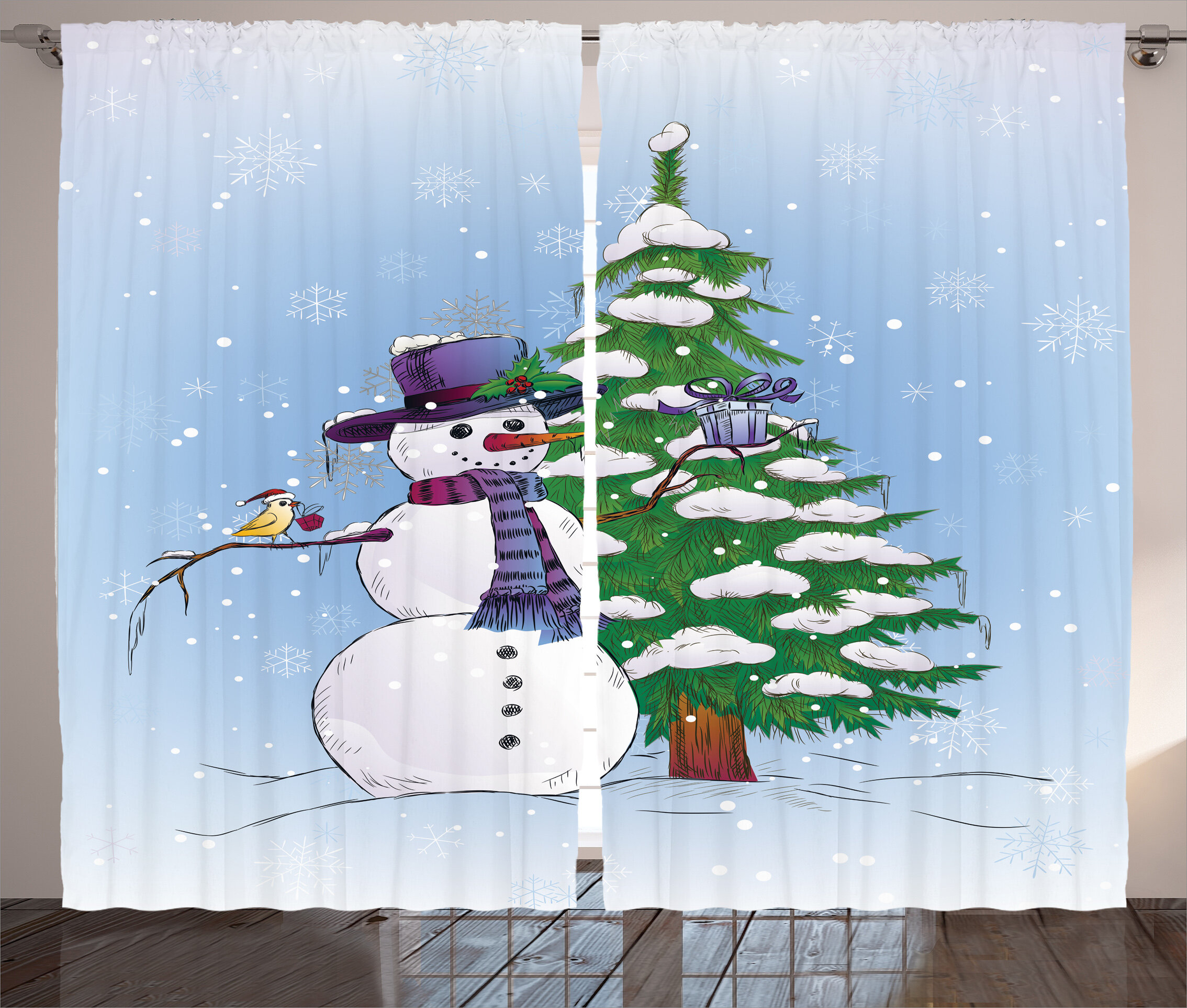 The Holiday Aisle Christmas Decorations Snowman in Winter with Mistletoe Gift Top Hat and Scarf Tree and Bird Graphic Print & Text Semi-Sheer Rod Pocket ...