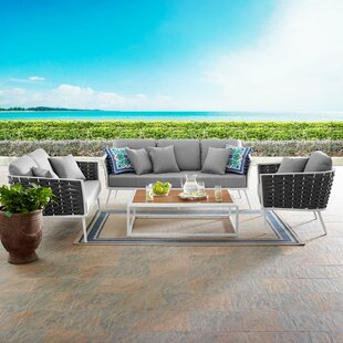 Claremore Stance Outdoor 4 Piece Rattan Sofa Seating Group Set