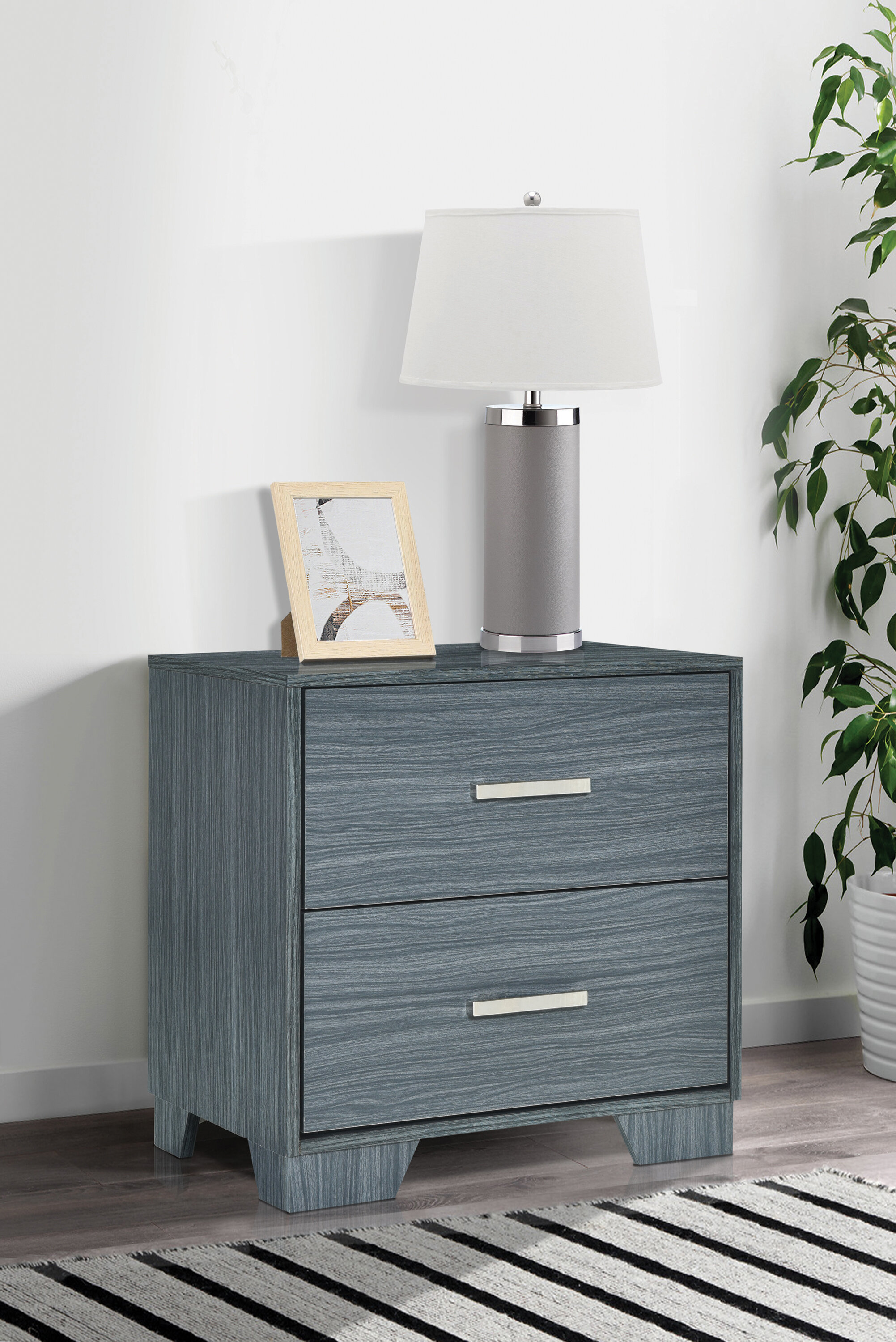 Red Barrel Studio Ducor 2 Drawer Nightstand In Dark Gray Wayfair