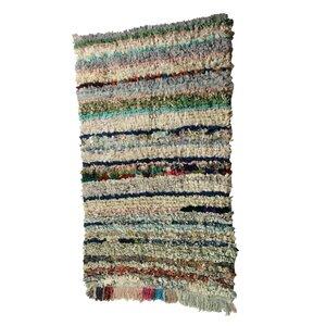 Boucherouite Azilal Hand-Woven Green/Ivory Area Rug