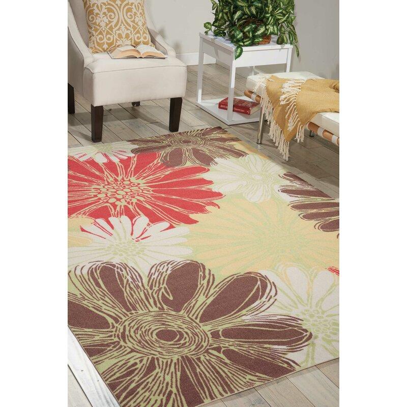Latitude Run Annecia Floral Green Red Indoor Outdoor Area Rug Reviews Wayfair Ca
