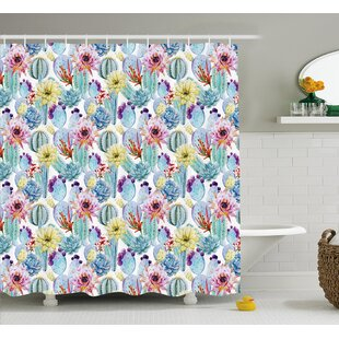 Sydney Cactus Botanic Detailed Pattern With Desert Sand Flowers Single Shower Curtain