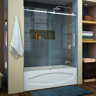 Bargain Enigma Air 60 x 62 Single Sliding Frameless Tub Door with Clearmax™ Technology By DreamLine
