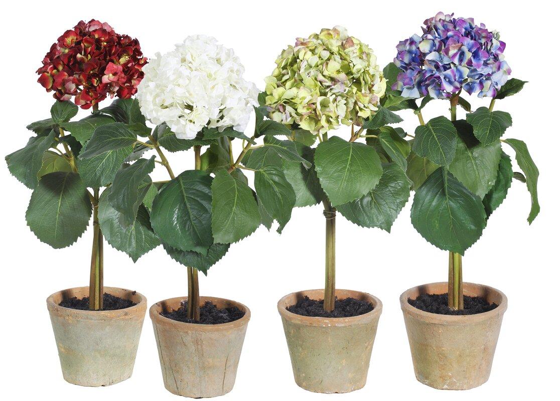 Winward Silks Hydrangea Single Stem Desk Top Flowering Plant in Pot ...