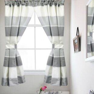 """Popular Bath Modern Line Bathroom Window Curtain Set 55"""" x36"""" Grey (Set of 2)"""