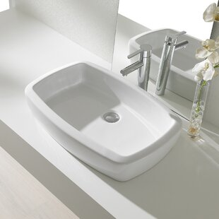 Buying Universal Ceramic Rectangular Vessel Bathroom Sink with Overflow By Bissonnet