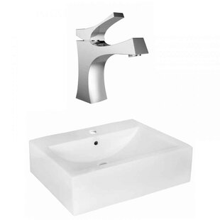 Online Reviews Xena Farmhouse Semi-Recessed Ceramic Rectangular Vessel Bathroom Sink with Faucet and Overflow By Royal Purple Bath Kitchen