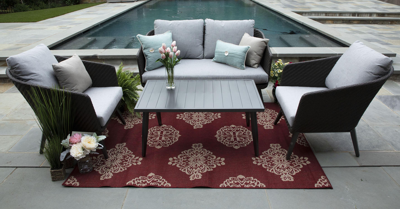Corrigan Studio Eaglin 4 Piece Sunbrella Sofa Set With Cushions Wayfair