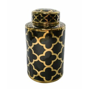 Decorative Ceramic Covered Storage Jar