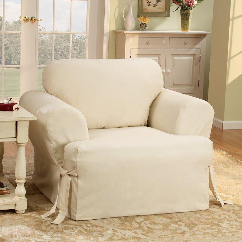 sure fit cotton duck t-cushion armchair slipcover & reviews | wayfair
