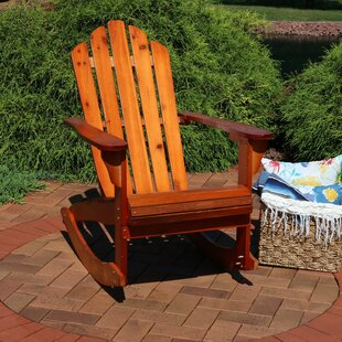 Larissa Outdoor Solid Wood Rocking Adirondack Chair