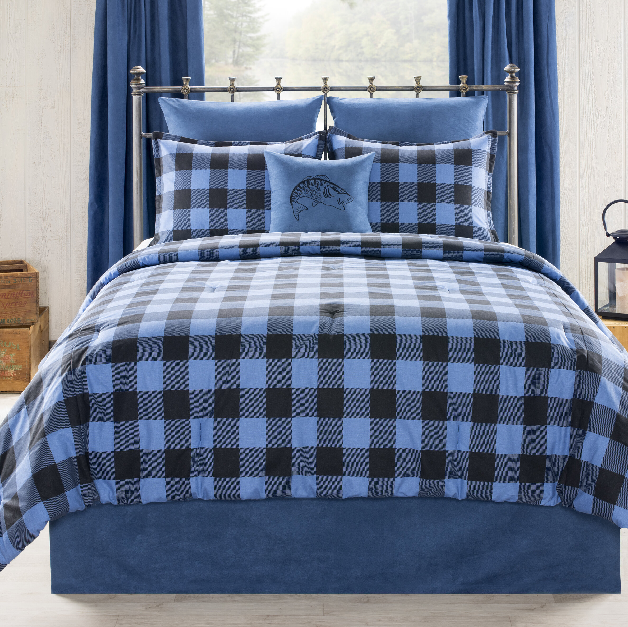 Comforters Sets Modern Cozy Plaid Sporty Blue White Red Stripe Cabin Lodge Boys Comforter Set Netpackmdz Com Ar