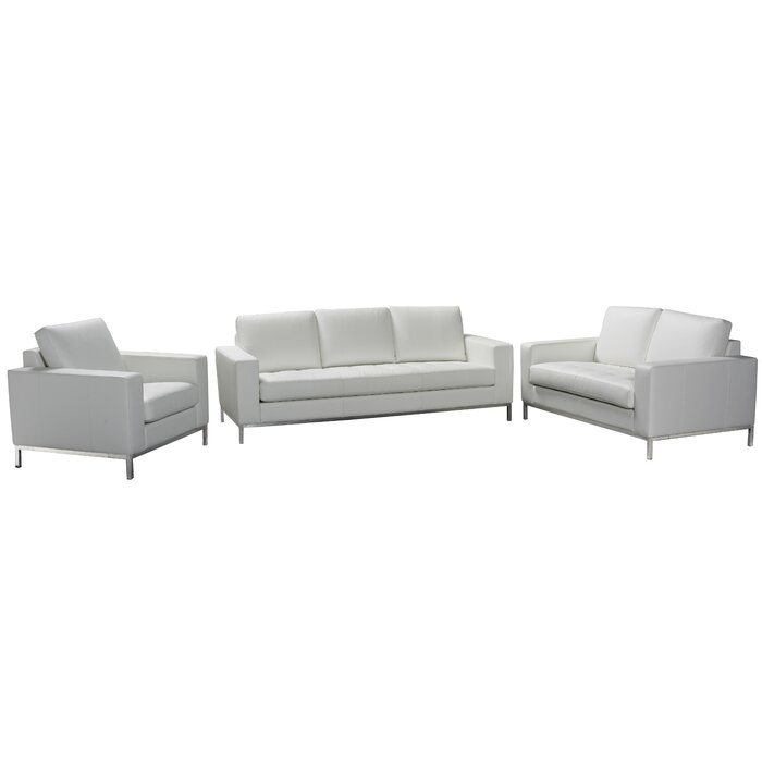 Witney 3 Piece Leather Living Room Set