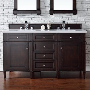 wayfair bathroom vanities. Deleon 60  Double Burnished Mahogany Quartz Top Bathroom Vanity Set With Wayfair