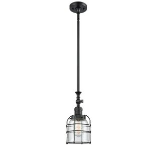 Hanska Cage 1-Light Bell Pendant by Breakwater Bay